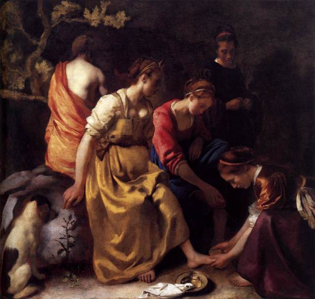 """Johannes Vermeer. """"Diana and Her Companions.""""  Circa 1650. No pearls but you can see that they would really work."""